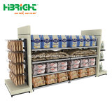 Nuovo tipo legno e cremagliera della scaffalatura del supermercato di combinazione del metallo da vendere