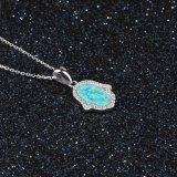 손 모양 디자인 AAA CZ & 파란 단백석 펀던트 목걸이 925 은 보석 (559580252688)