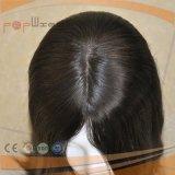 Virgen de la seda de color negro de pelo Remy peluca superior (PPG-L-01472)