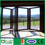 Double porte glacée en bois plaquée en aluminium personnalisée de Bifolding