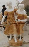 Het witte en Gele Marmeren Standbeeld/het Beeldhouwwerk van de Vrouw van de Kunst van de Steen Snijdende voor Verkoop