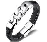 Pulseira magnéticas de couro da forma da curvatura do aço inoxidável do bracelete de Geunine do preto do punk da jóia dos homens do vintage