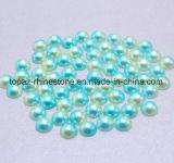 Arco iris verde Ab colorido a medias alrededor de las perlas ABS Flatback de imitación de 3m m a de 6m m para el arte del clavo de las decoraciones de la ropa (arco iris TP-verde)