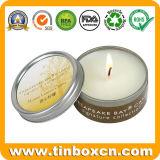 Caja de lata personalizada con velas aromáticas para envases de viajes