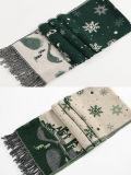 Cashmere reversível de acrílico de mulheres como neve no inverno a impressão de tecidos de malha grossa quente lenço Xale (SP262)