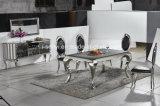 En marbre ou en verre trempé Haut Table à manger en acier inoxydable