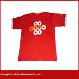 T-shirts courants de sport de vente en gros de T-shirt de collet à séchage rapide fait sur commande de V (R90)