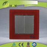TUV CE CB Европейский стандарт сертифицированных закаленного стекла 2 токопроводящей дорожки 1 таким образом зеленый настенный переключатель