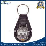 Beëindigt het Gestempelde Staal van de kwaliteit Douane Duurzaam Leer Keychain