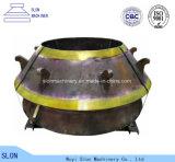 高いマンガン鋼鉄Terexの凹面のふたの円錐形の粉砕機の部品