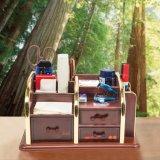 木の多機能の6つのセル3引出しの文房具のオルガナイザー