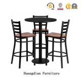 Pub personnalisée simple mobilier en bois massif de chaises et tabourets de bar Table Set (HD1509)