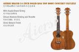 Верхняя часть Koa отделки лоска твердая 24 Ukulele гитары Гавайских островов дюйма