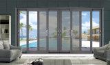 Porta de vidro de deslizamento de alumínio do frame do projeto europeu com rede de mosquito