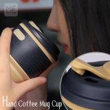 Tasse de café non-toxique de course de silicones de quatre couleurs avec le couvercle de chemise et de silicones