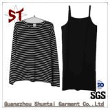 Vestido de duas partes das senhoras do estilingue do t-shirt do preto novo do projeto