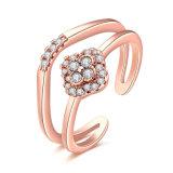 꽃 모양 금에 의하여 도금되는 조정가능한 열려있는 반지 형식 보석