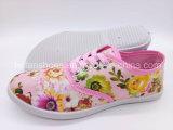 安い価格の女性の注入のズック靴の余暇のスニーカーの靴(FPY818-16)