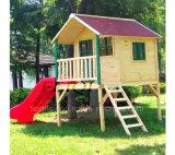 子供の演劇システム木の屋外の運動場の子供のゲームのスライド、ツリーハウスのための屋外の木の子供のプレイハウス
