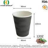 taza de papel de consumición caliente de la ondulación disponible 12oz con la funda (12 onzas)