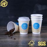 12oz Изолированные двойные стенки чашки с крышкой для горячего кофе