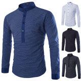 Camicia sottile del maschio di misura del vestito dalla camicia della stampa degli uomini di affari Long-Sleeved della camicia