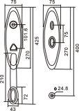 CPZ010 het ovale Handvat van de Deur van de Hefboom van de Legering van het Zink van de Vorm
