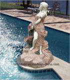 Белый мраморный рисунок скульптура для фонтана сада