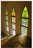 L'Europe de l'Église vitrail de style de bord