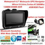 """4.3を""""ひるみ6.0 GPSの操縦士システム、IP67ハンズフリー、Bluetooth GPS追跡の土曜日Navの前荷GPSのマップとの車のMotocyleのバイクGPSの運行防水しなさい"""