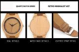Reloj impermeable del cuarzo de la voga del OEM con la venda de madera del cuero de la cara