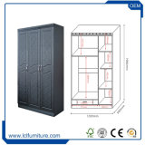 3つのドアのメラミンMDFの寝室の現代ワードローブの戸棚デザイン