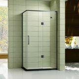 Cerco preto do chuveiro do aço inoxidável com a uma porta da dobradiça