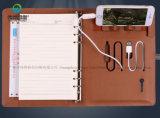 Cahier en cuir de luxe d'agenda de planificateur gravé en relief par coutume d'affaires d'unité centrale de logo du constructeur 2018 de Guangzhou avec le côté de pouvoir et l'USB