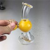 Gelber Glassbongs Fantasie-Entwurfs-rauchendes Wasser-Glasrohr