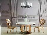 Prata de prata de luxo Mesa de jantar de aço inoxidável Móveis de jantar