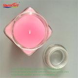 Vela de vidro bonito geada cor-de-rosa do suporte com tampa de cristal