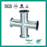 Raccords de tuyaux sanitaires en acier inoxydable poli croix de fermeture