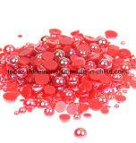 Красная перла ногтя Ab наполовину вокруг имитации ABS корабля Pearls шарики Scrapbook для украшения ногтя DIY (TP-красный rhinestone ногтя ab)