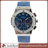 革バンドが付いている男性用デジタルステンレス鋼の腕時計