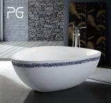 Vasca da bagno indipendente poco costosa del triangolo di vendita della superficie della pietra solida calda del getto