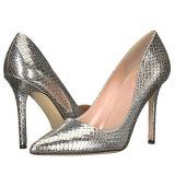 Zapatos acentuados superiores de cuero de los altos talones de las señoras de la punta de Partent del diseño de China