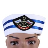 Cappello su ordinazione bianco all'ingrosso del marinaio del ricamo fatto in Cina