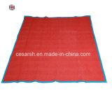 Home, movimentação, embalagem, uso de piquenique e adultos cobertores em movimento