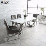 Arianna 2 metros de acero inoxidable con vidrio blanco juegos de mesa de comedor