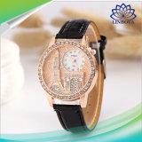 昇進の女性の女性ギフトのダイヤモンドの革バンドの水晶腕時計