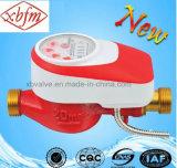 機械密封された弁(赤いカラー)が付いているスマートな水道メーター