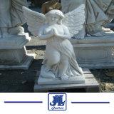 Beeldhouwwerk van de Engel van Carrara het Witte Marmeren voor Tuin/het Standbeeld van het Cijfer/het Beeldhouwwerk van het Cijfer
