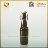 フリップ帽子のブラウン330mlの小さいガラスビール瓶(044)