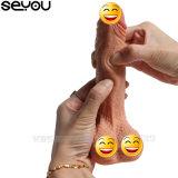 El sexo adulto del consolador enorme artificial largo del pene de la capa doble juega los consoladores flexibles del sexo del pene del silicón